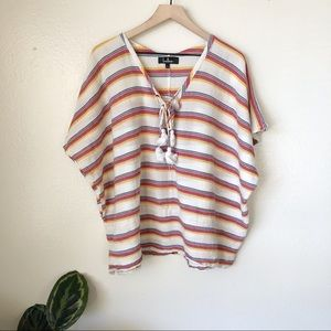 Lulu's | At Sunset Striped Poncho Top